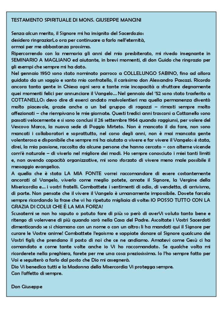 testamento spirituale di don Giuseppe Mancini